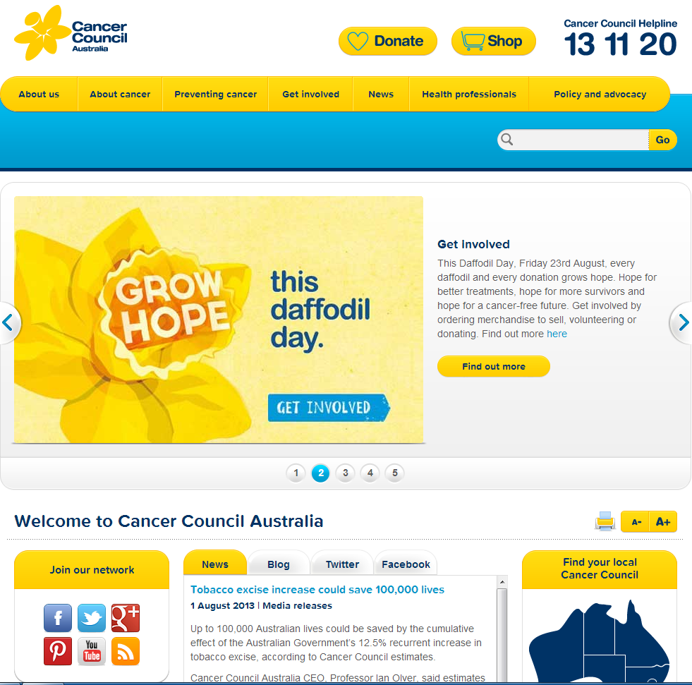 Cancer council webpage image